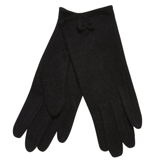 Dámske rukavice s mašličkou bata, čierna, 909-6404 - 13