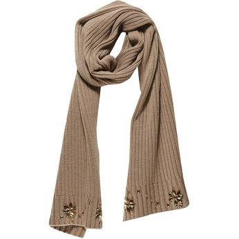 Pletený šál s kamienkami bata, béžová, 909-8309 - 13