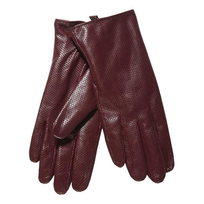 Dámske kožené rukavice s perforáciou bata, červená, 904-5114 - 13