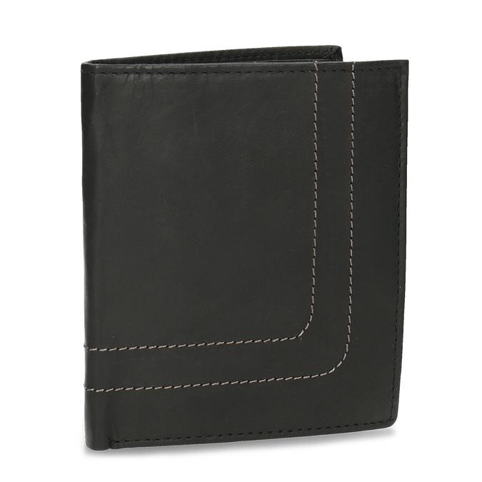 Kožená peňaženka s prešitím bata, čierna, 944-6148 - 13
