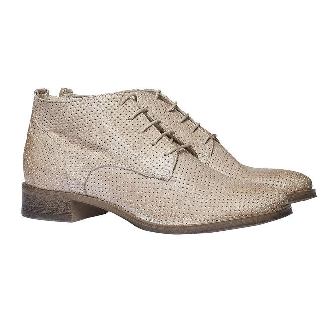 Dámske kožené členkové topánky bata, béžová, 524-8468 - 26