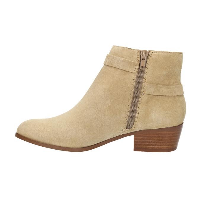 Dámska členková obuv z brúsenej kože bata, béžová, 693-1600 - 26