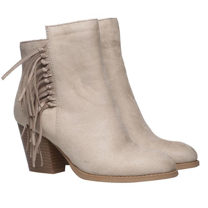 Členkové čižmy s trblietkami bata, béžová, 799-8628 - 26