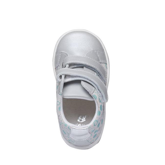 Detské kožené tenisky na suchý zips bubblegummer, šedá, 124-2144 - 19