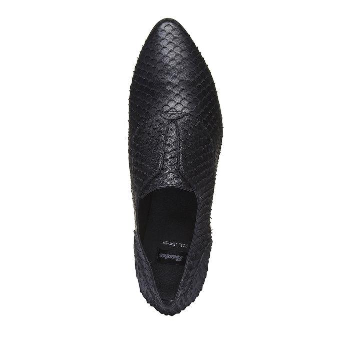 Dámske kožené poltopánky bata, čierna, 514-6212 - 19