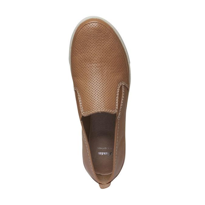 Kožené Plim Soll topánky s perforáciou bata, hnedá, 514-3197 - 19