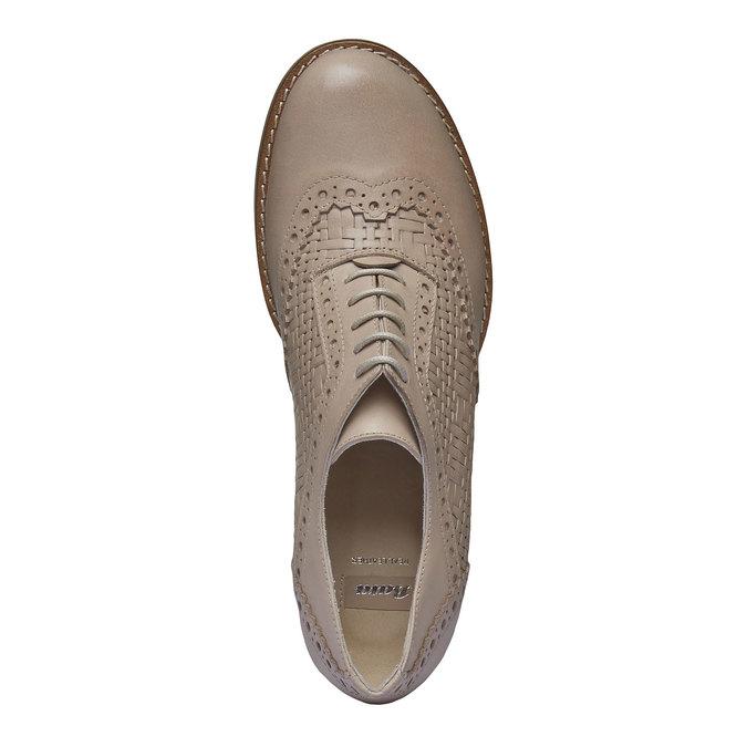 Kožené poltopánky na podpätku bata, béžová, 624-8386 - 19
