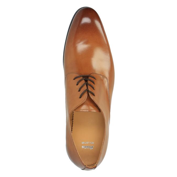 Hnedé kožené poltopánky v Derby strihu bata, hnedá, 824-3648 - 19