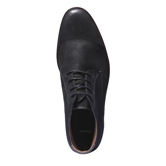 Kožená obuv v štýle chukka bata, čierna, 844-6171 - 19