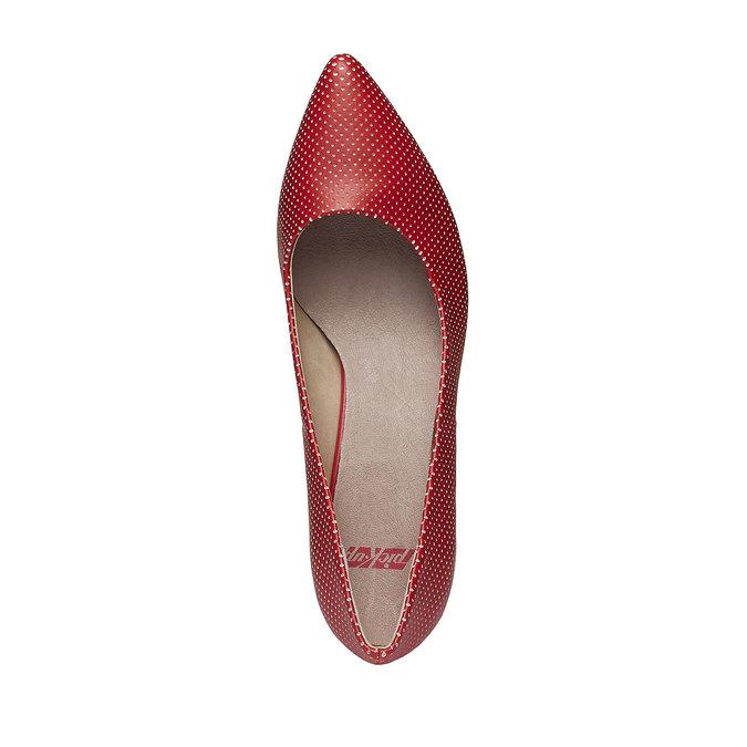 Červené lodičky s perforáciou, červená, 621-5384 - 19