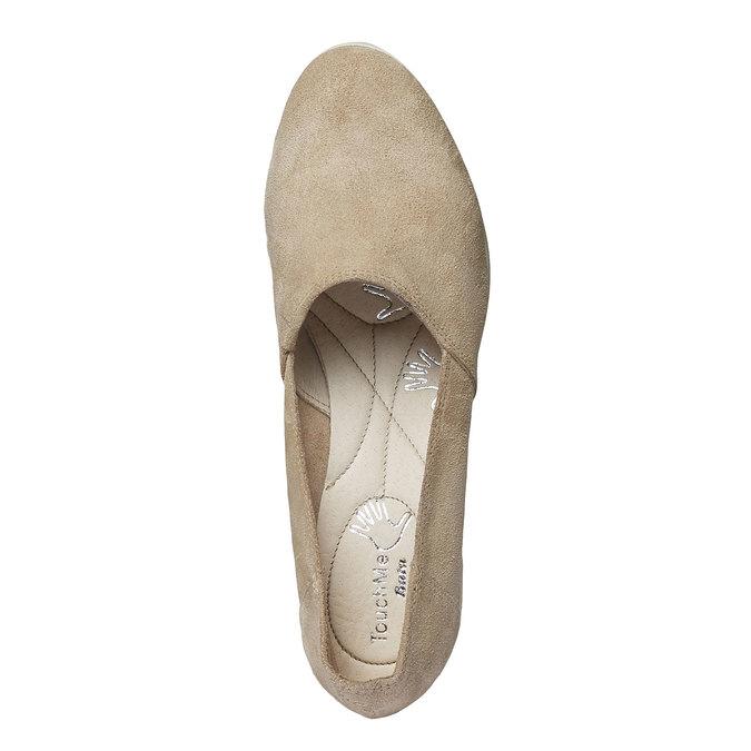 Kožené lodičky na klinovom podpätku bata-touch-me, béžová, 613-8110 - 19