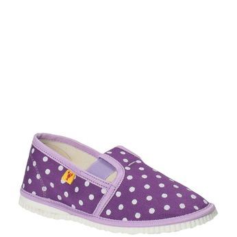 Detská domáca obuv s bodkami bata, fialová, 279-9103 - 13