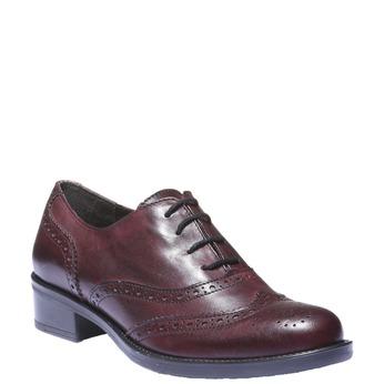 Kožené Oxfordky s Brogue zdobením bata, červená, 524-5185 - 13
