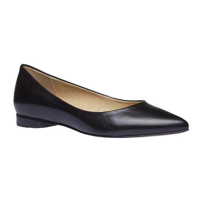 Čierne kožené baleríny do špičky bata, čierna, 524-6493 - 13