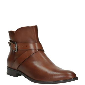 Kožená členková obuv s prackou bata, hnedá, 594-4602 - 13