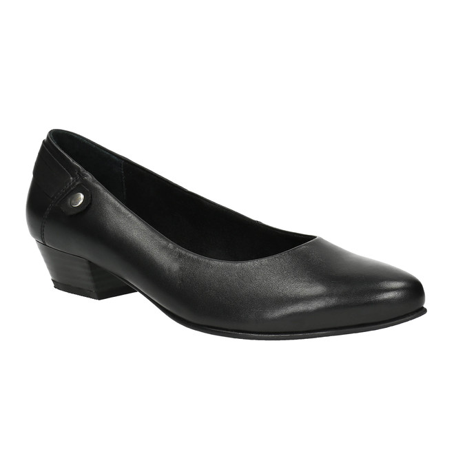 Kožené lodičky na nízkom podpätku bata, čierna, 624-6603 - 13