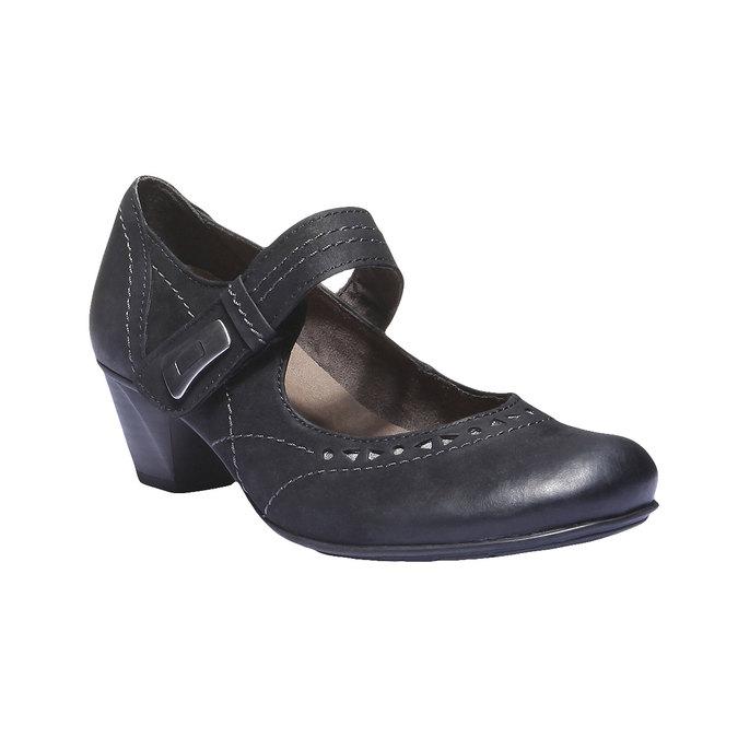 Kožené Mary Janes bata, čierna, 626-6100 - 13