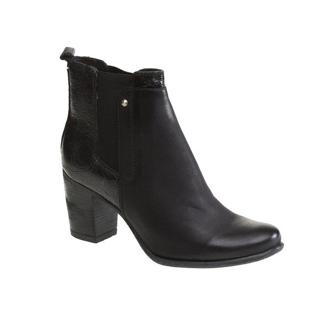 Kožené členkové čižmy bata, čierna, 694-6107 - 13