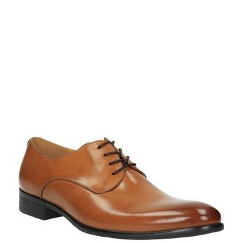 Hnedé kožené poltopánky v Derby strihu bata, hnedá, 824-3648 - 13