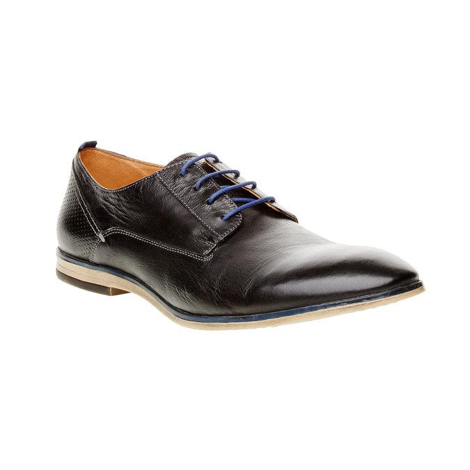 Kožené poltopánky v štýle derby bata, čierna, 824-6605 - 13