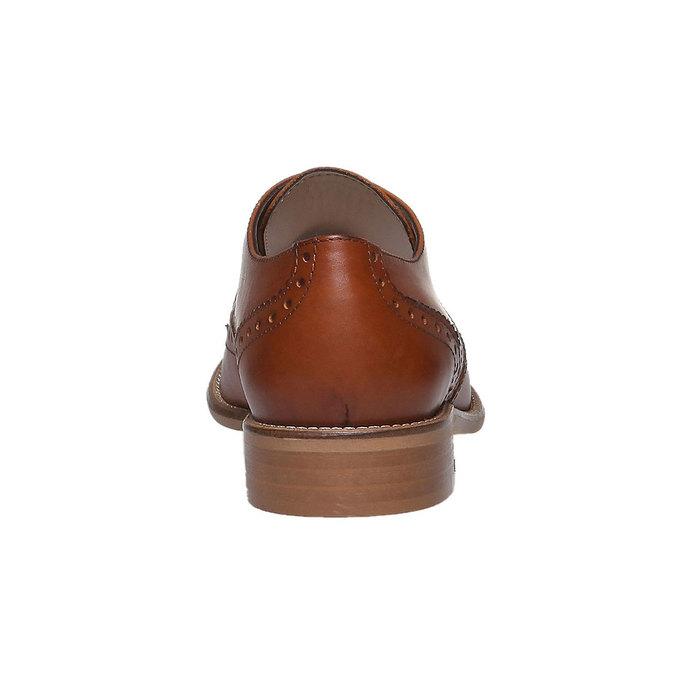 Dámske kožené poltopánky so zdobením bata, hnedá, 524-3488 - 17