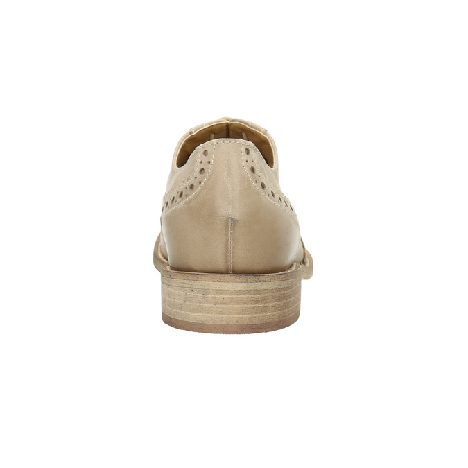 Dámske kožené poltopánky so zdobením bata, béžová, 524-8482 - 17