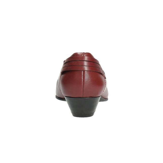 Kožené lodičky na nízkom podpätku bata, červená, 624-5603 - 17