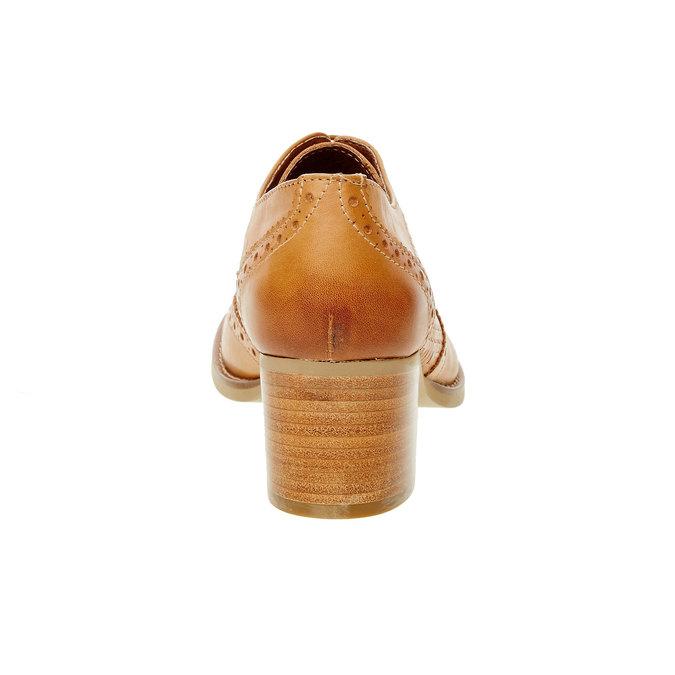 Kožené poltopánky na podpätku bata, hnedá, 624-3386 - 17