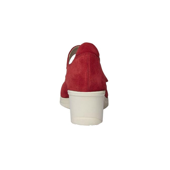 Kožené lodičky na klinovom podpätku bata-touch-me, červená, 623-5392 - 17