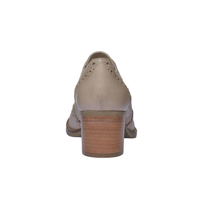 Kožené poltopánky na podpätku bata, béžová, 624-8386 - 17