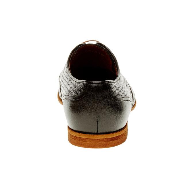 Kožené poltopánky s pleteným vzorom conhpol, čierna, 826-6300 - 17
