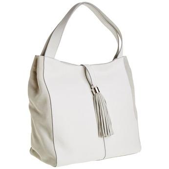 Kožená kabelka so strapcom bata, biela, 964-1179 - 13