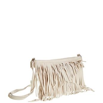 Kožená Crossbody kabelka so strapcami bata, béžová, 963-8120 - 13