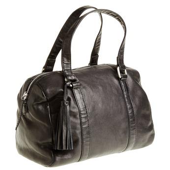 Kožená kabelka so strapcom bata, čierna, 964-6190 - 13