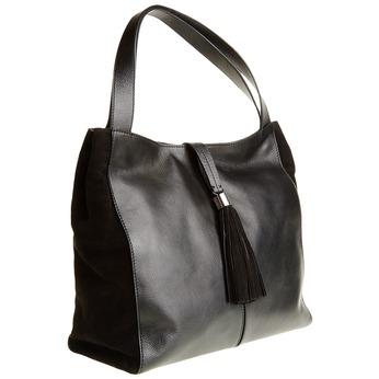Kožená kabelka so strapcom bata, čierna, 964-6179 - 13