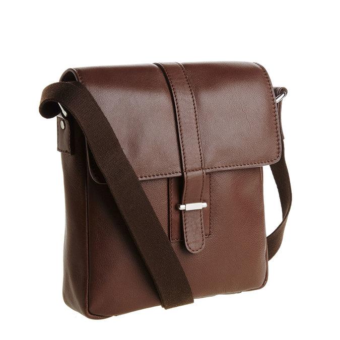Pánska kožená taška cez telo bata, hnedá, 964-4181 - 13