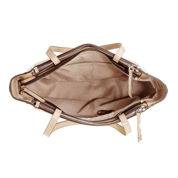 Dámska kabelka s lesklými prvkami bata, béžová, 969-8315 - 15