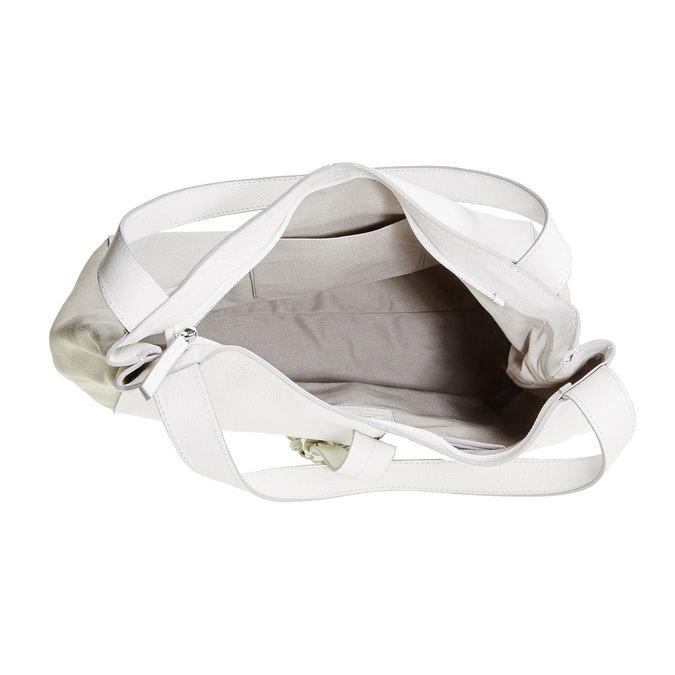 Kožená kabelka so strapcom bata, biela, 964-1179 - 15
