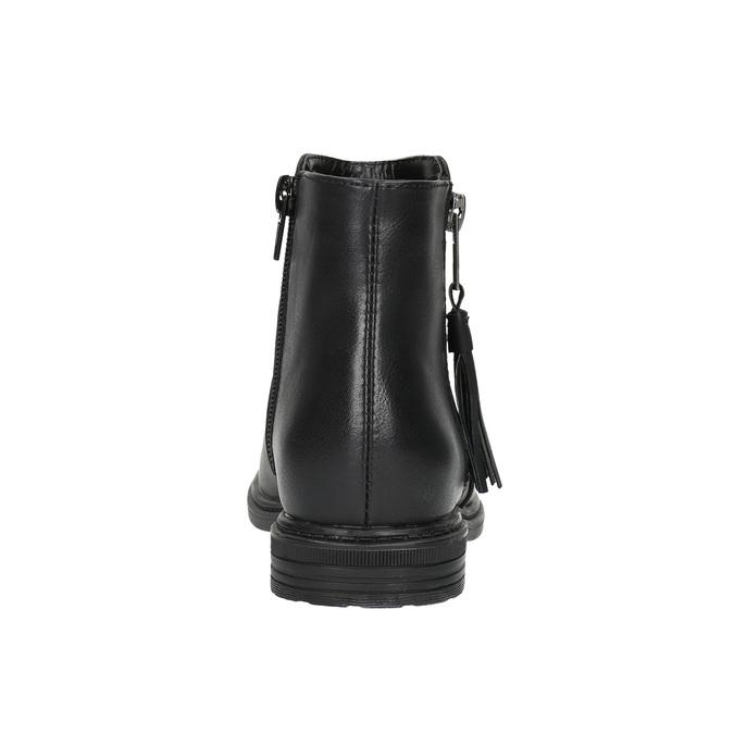 Detská členková obuv so strapcom mini-b, čierna, 391-6266 - 17