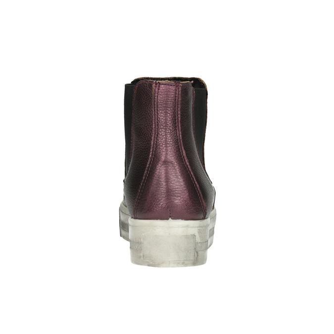 Kožená členková obuv na širokej podrážke bata, fialová, 596-5625 - 17