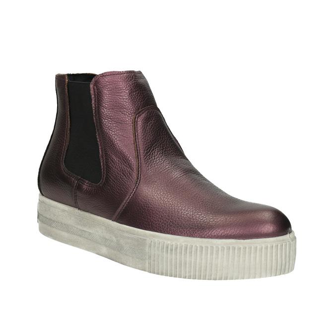 Kožená členková obuv na širokej podrážke bata, fialová, 596-5625 - 13