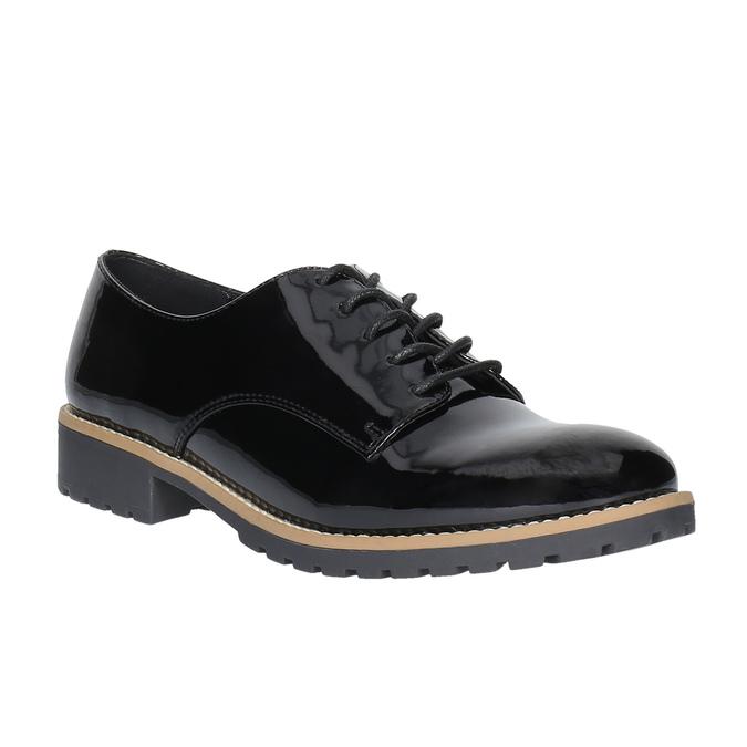 Lakované poltopánky na výraznej podrážke bata, čierna, 521-6600 - 13