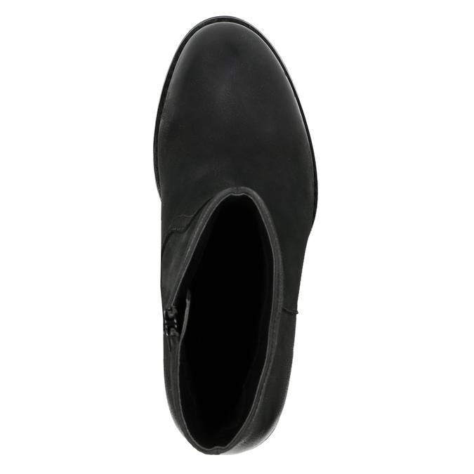 Kožená členková obuv na širokom podpätku bata, čierna, 696-6612 - 19