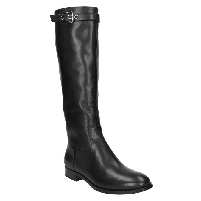 Dámske kožené čižmy so sponou bata, čierna, 596-6630 - 13