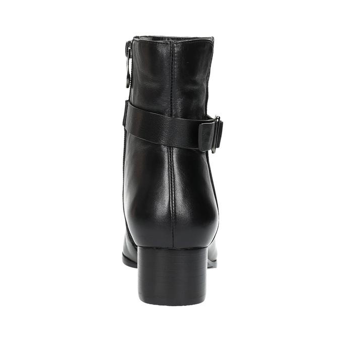 Kožené členkové čižmy na nízkom podpätku bata, čierna, 694-6630 - 17