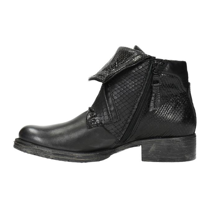 Kožená členková obuv so širokým lemom bata, čierna, 596-6617 - 26