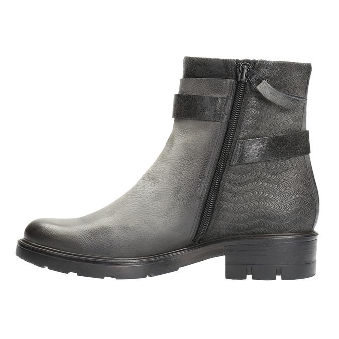 Kožená členková obuv s metalickými prvkami bata, šedá, 596-2619 - 26