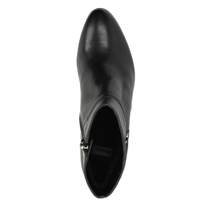 Kožená členková obuv na podpätku bata, čierna, 694-6632 - 19