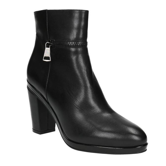 Kožená členková obuv na podpätku bata, čierna, 694-6632 - 13