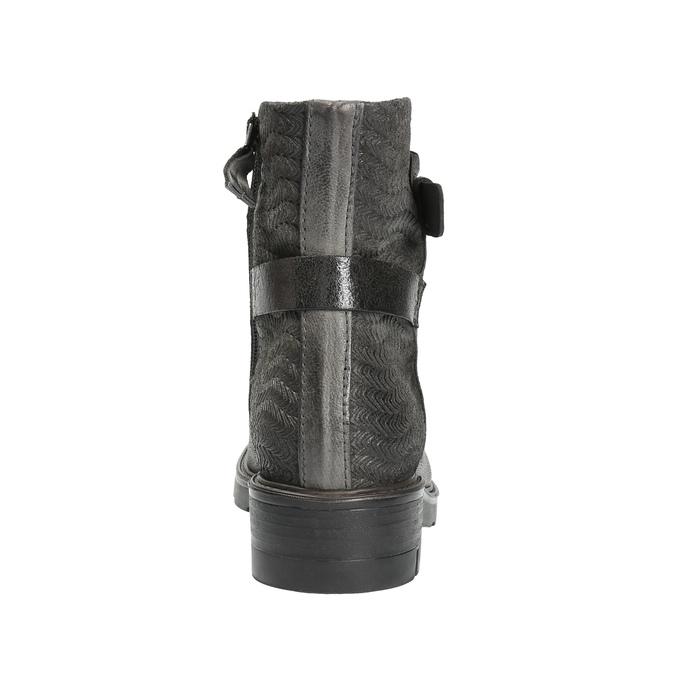 Kožená členková obuv s metalickými prvkami bata, šedá, 596-2619 - 17